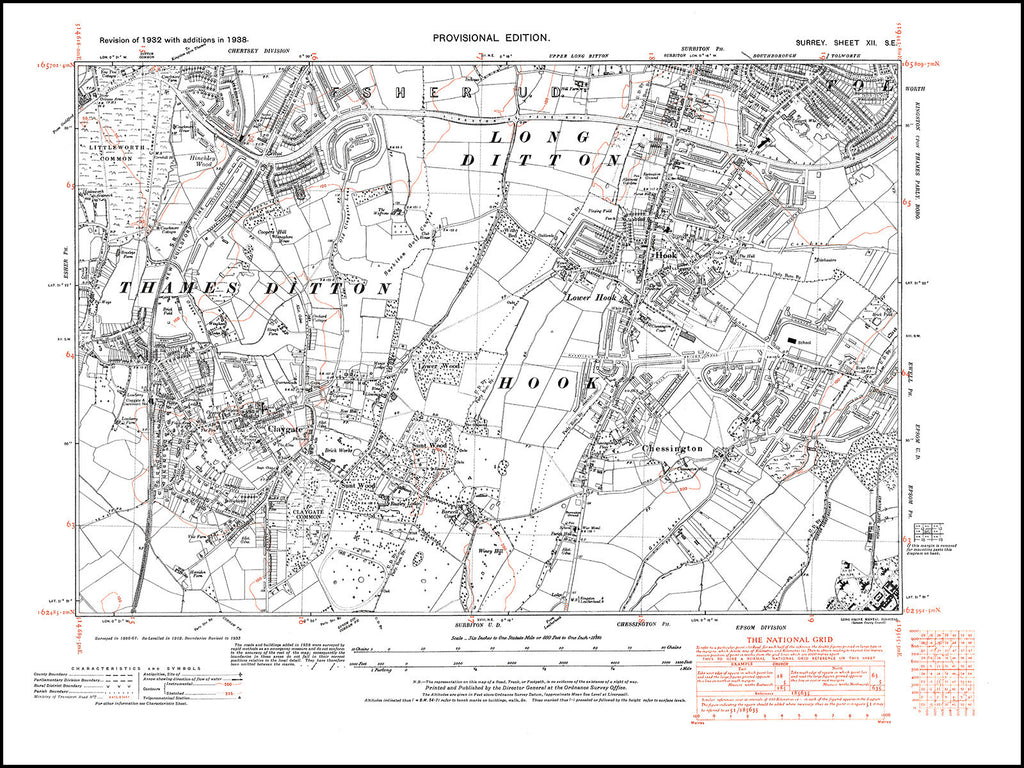 Thames Ditton, Long Ditton, Hook, Chessington, Claygate, Surrey in 1938 : 12-SE