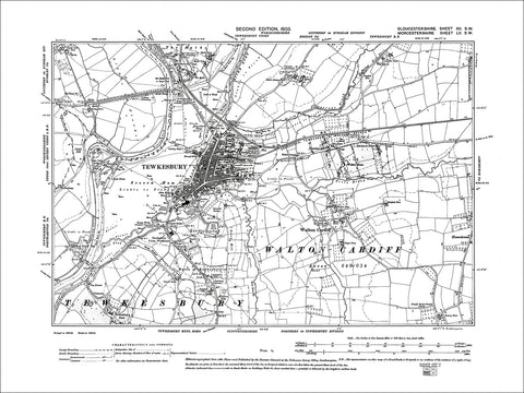 GLOUCESTERSHIRE 12SW : Old map of Tewkesbury, Walton Cardiff in 1903