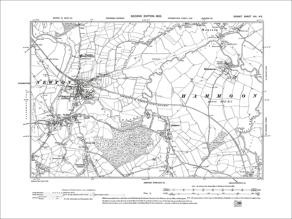 Dorset sheet 13NE - old map of Sturminster Newton, Fiddleford, Hammoon, Manston (south) in 1902
