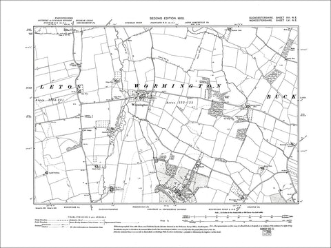 GLOUCESTERSHIRE 13NE : Old map of Wormington in 1903
