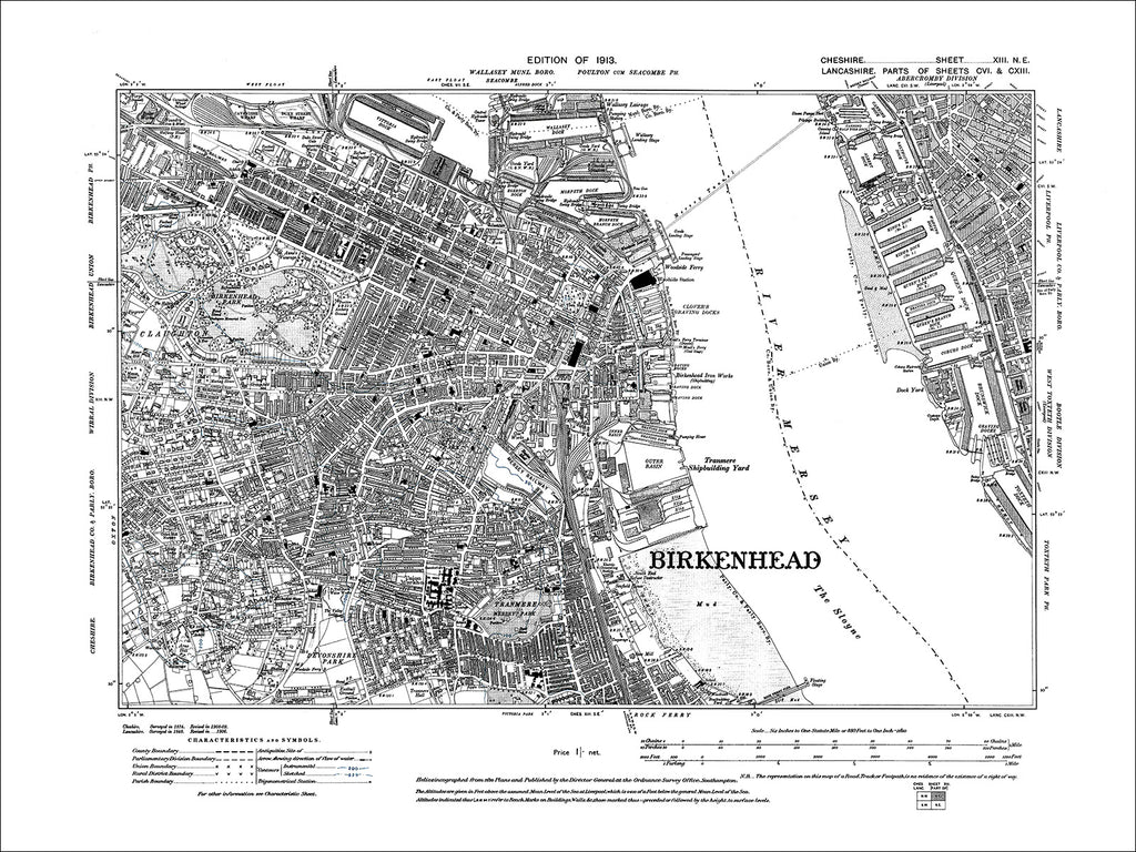 Birkenhead, Claughton (E), Seacombe (S), old map Cheshire 1913: 13NE