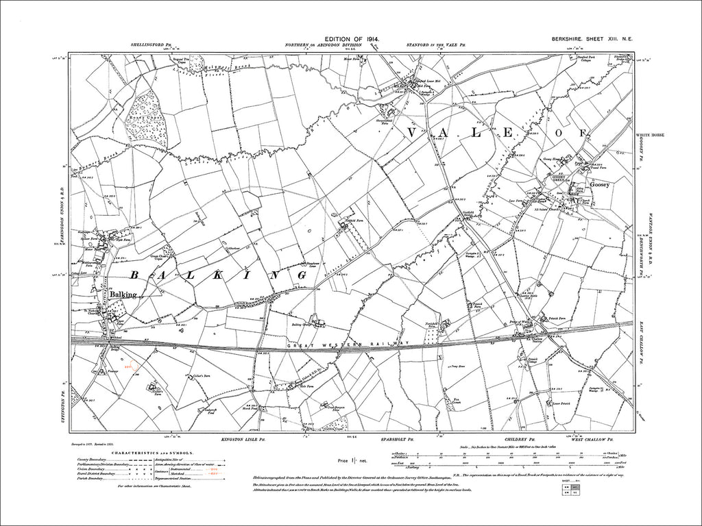 Balking, Goosey, old map Berkshire 1914: 13NE