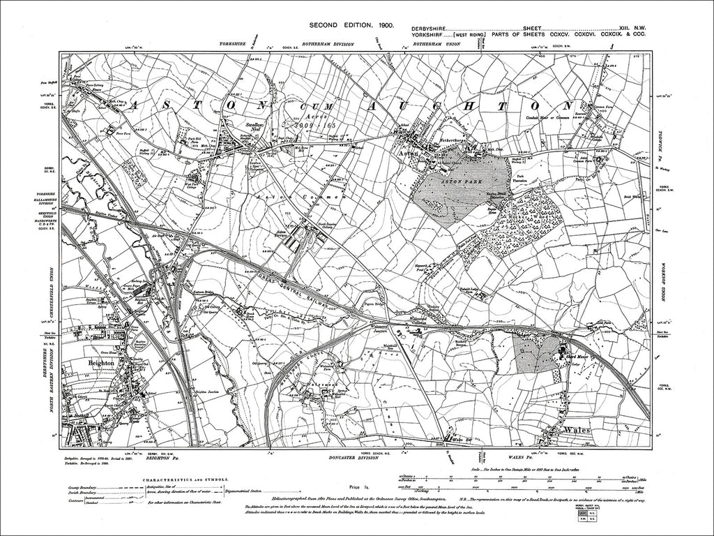Beighton, Aston, Wales (N), Old Map Derbyshire 1899: 13NW