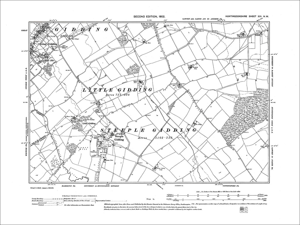 HUNTINGDONSHIRE 13NW : Old map of Great Gidding, Steeple Gidding in 1902