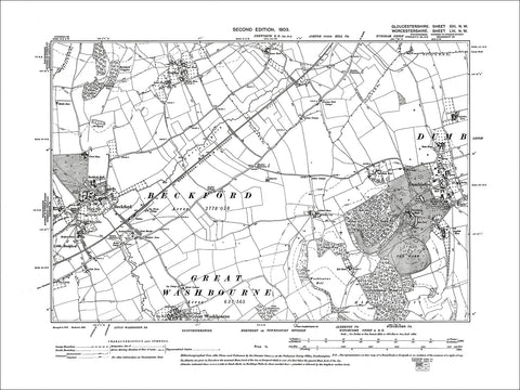 GLOUCESTERSHIRE 13NW : Old map of Beckford, Dumbleton, Great Washbourne (north) in 1903