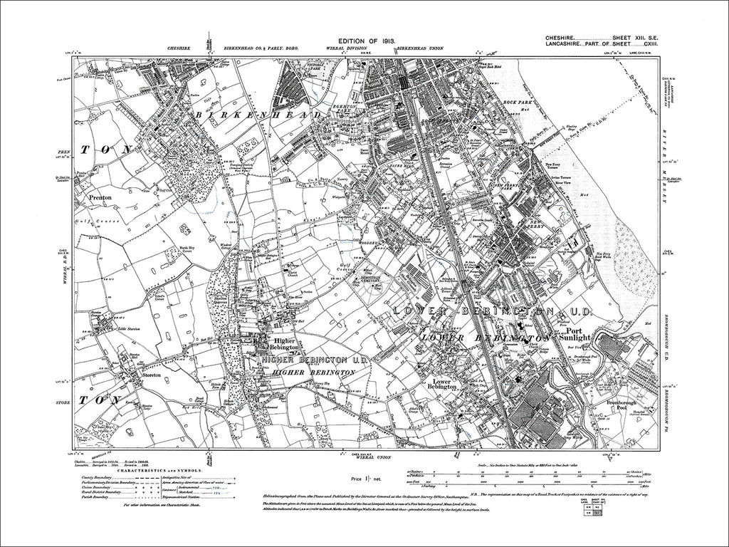 Birkenhead (S), Bebington, Port Sunlight, old map Cheshire 1913: 13SE
