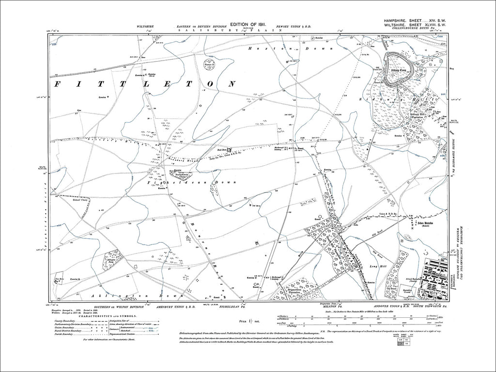HAMPSHIRE 14SW : Old map of Tidworth Barracks (west) in 1911