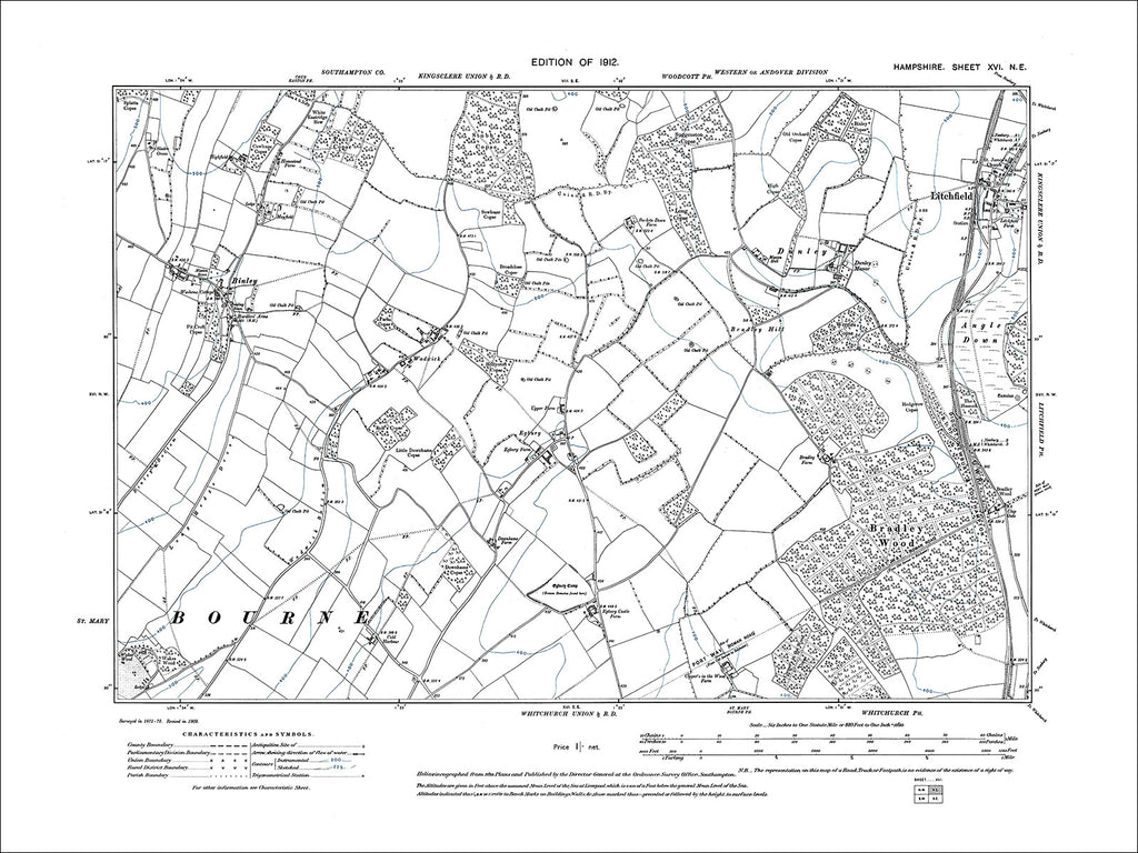 HAMPSHIRE 16NE : Old map of Litchfield, Binley in 1912