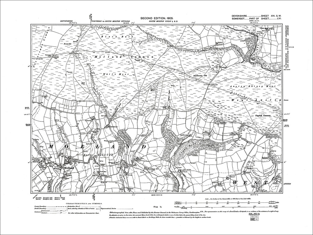 Molland, Old Map Devon 1905: 16SW