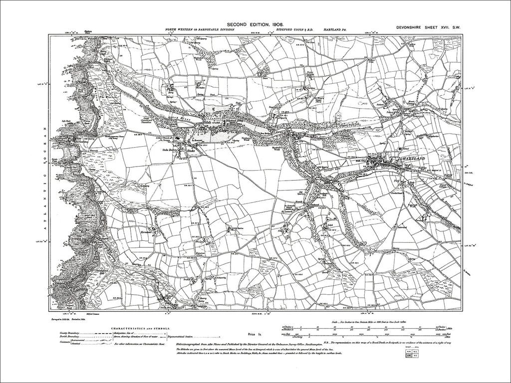 Hartland, Stoke, Old Map Devon 1906: 17SW