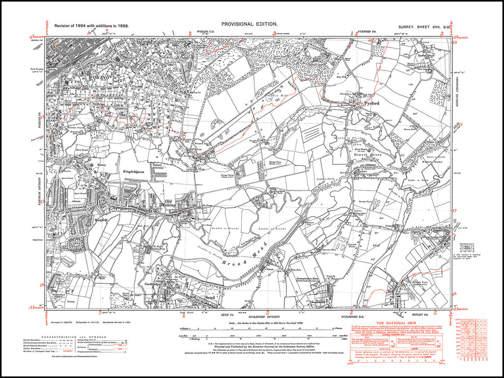 Woking (east), Old Woking, Send (north), Pyrford, Surrey in 1938 : 17-SW