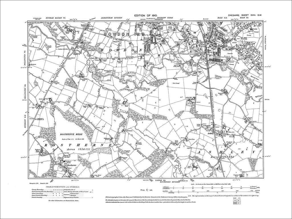 Ashley, Rostherne, Bowden (S), Hale (S), old map Cheshire 1910: 18SW