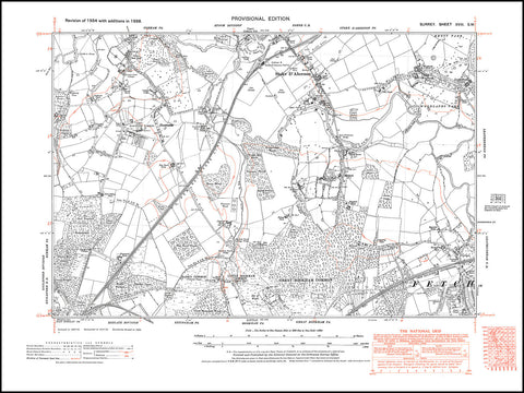northwest Stoke D/'Abernon south old map Surrey 18-SW in 1938 Fetcham