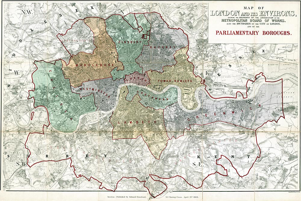 Map Of London Showing Boroughs.Map Of The London Parliamentary Boroughs By E Stanford 1884
