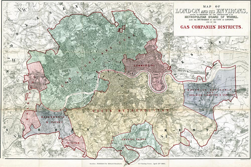 London Map Districts.Old Map Of London Map Of The London Gas Companies Districts By E
