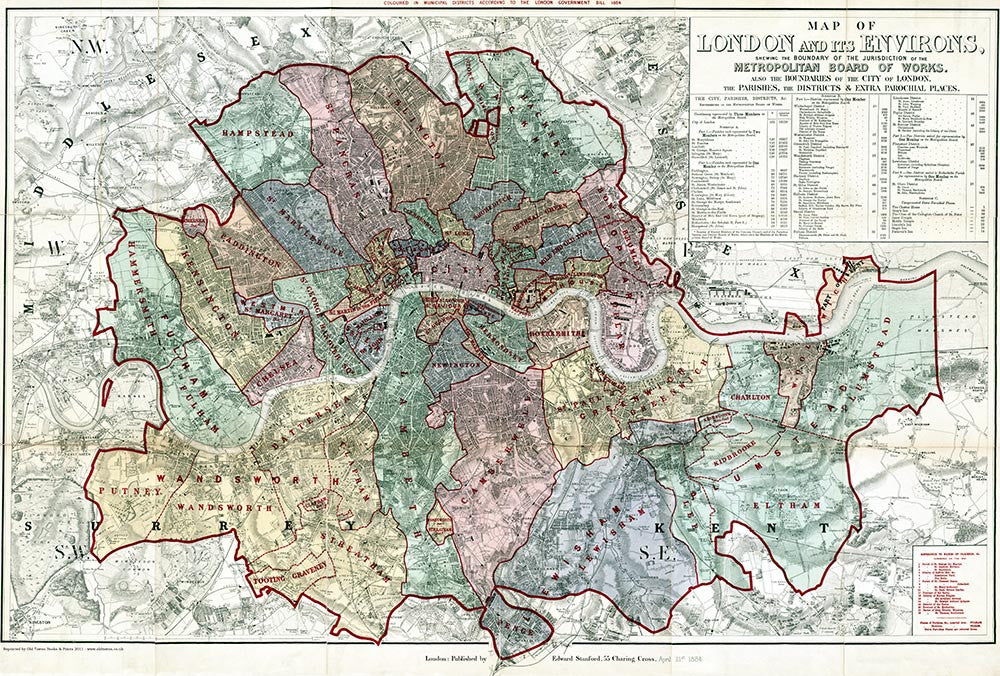 London Map Districts.Old Map Of London Map Of The London Parishes Districts And Extra