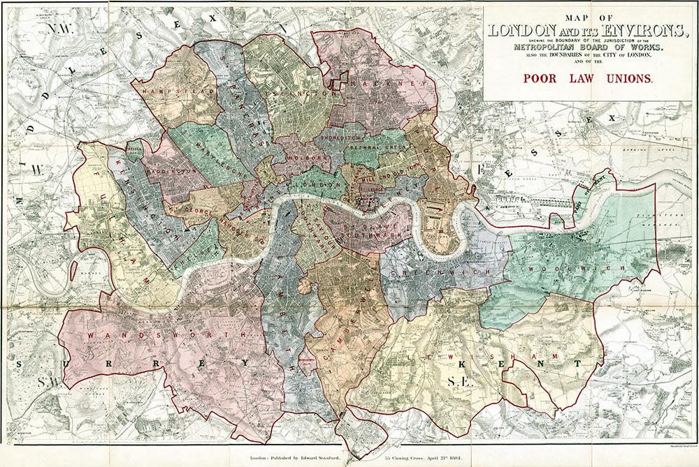 Map Of London 1900.Old Map Of London Map Of The London Poor Law Unions By E Stanford