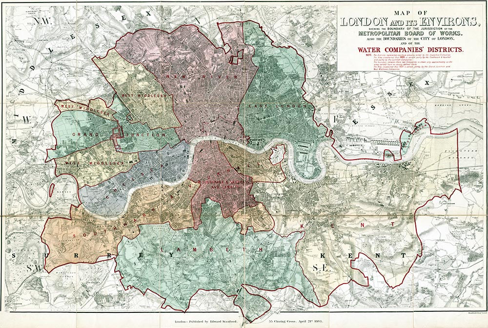 London Map Districts.Old Map Of London Map Of The London Water Companies Districts By E
