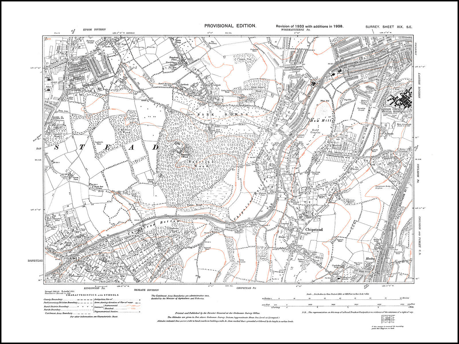 Map Se London.Banstead South Park Downs Chipstead How Hills London County Hospital Surrey In 1938 19 Se