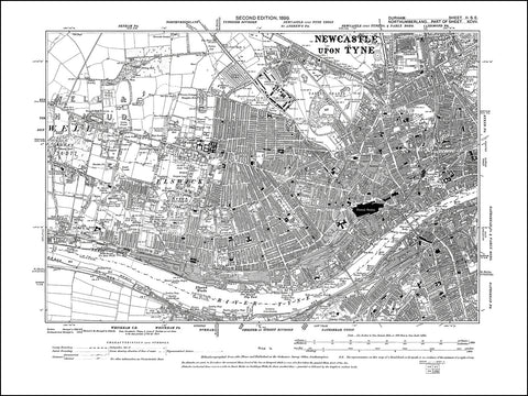 DURHAM 02SE : Old map of Gateshead north west in 1898
