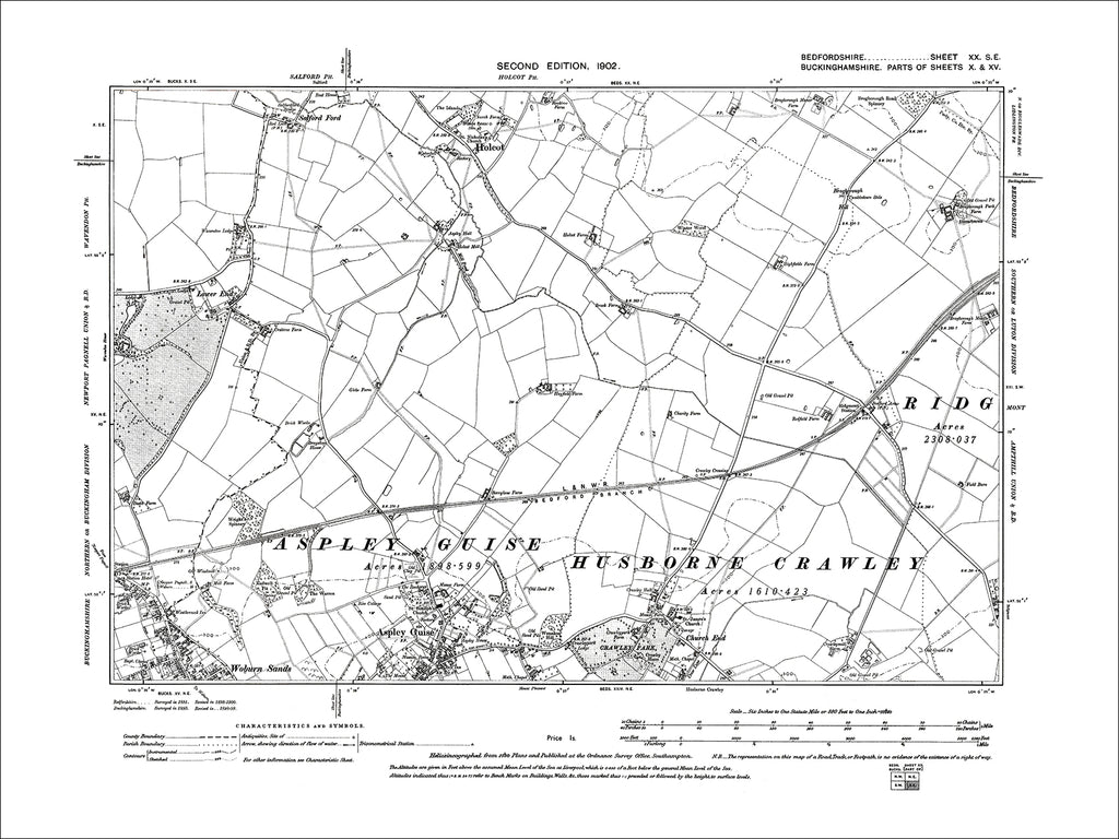 Aspley Guise (N), Holcot, old map Bedfordshire 1902: 20SE
