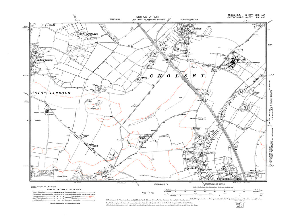 Aston Tirrold, Cholsey (S), Moulsford, old map Berkshire 1914: 22NW