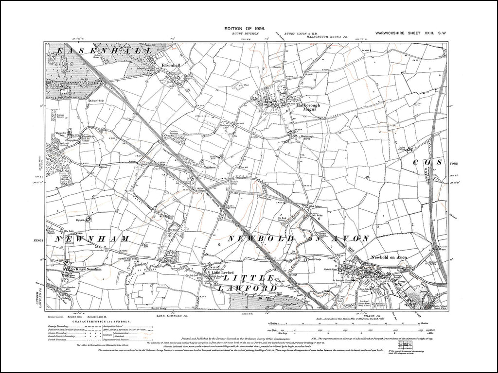 Newbold on Avon, Harborough Magna, Kings Newnham, Easenhall 1926 (23SW)