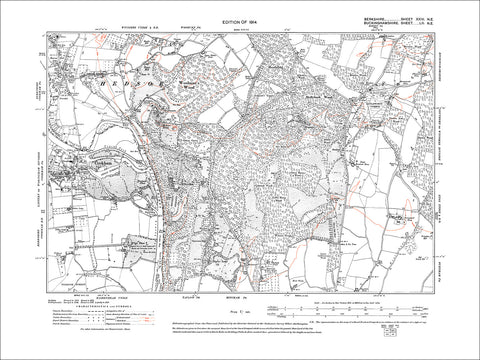 Cookham (E), old map Berkshire 1914: 24NE