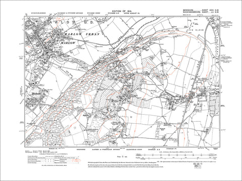 Bisham, Cookham Dean & Rise, Winter Hill, old map Berkshire 1914: 24NW