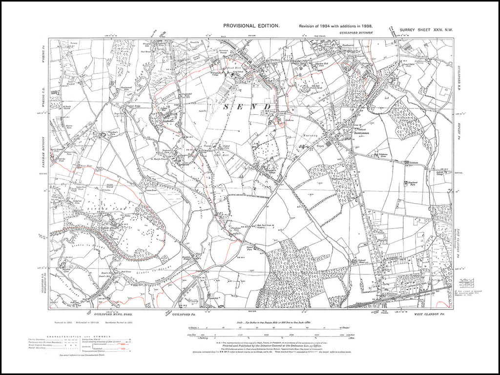 Send (south), Clandon (north), Surrey in 1938 : 24-NW