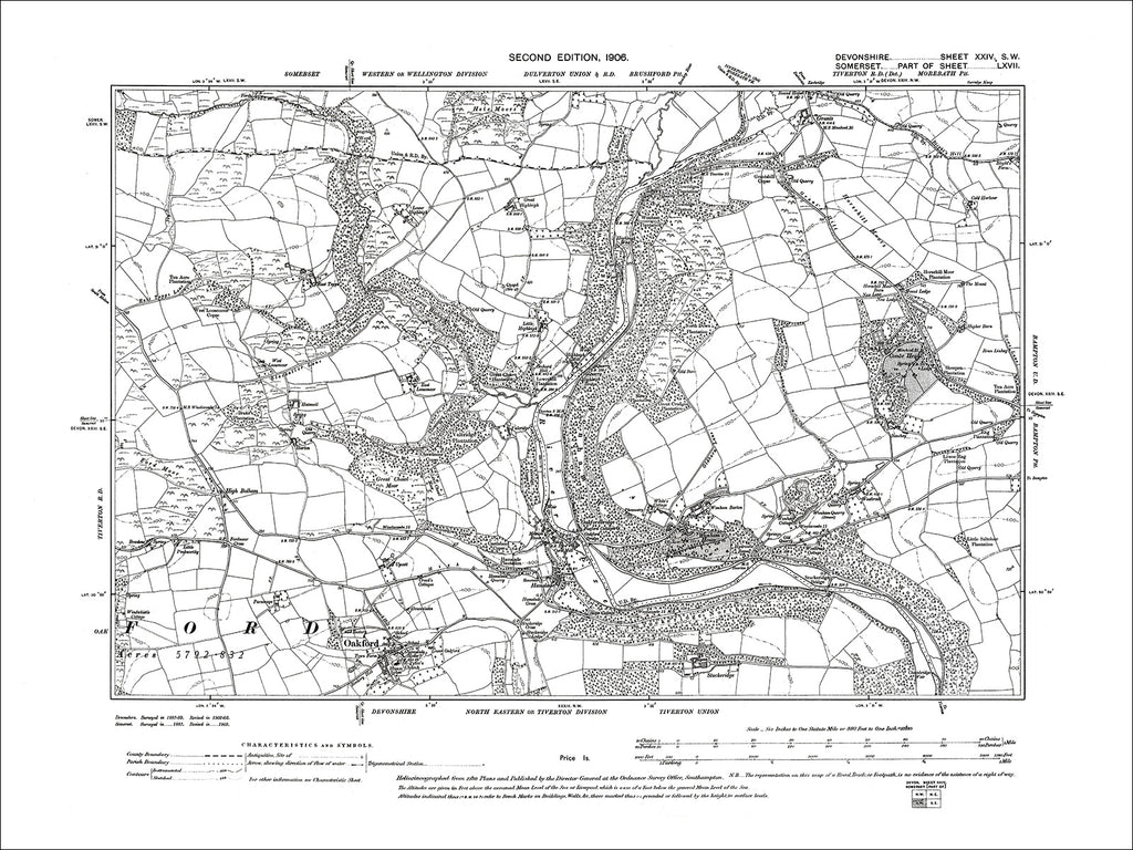 Oakford, Old Map Devon 1906: 24SW