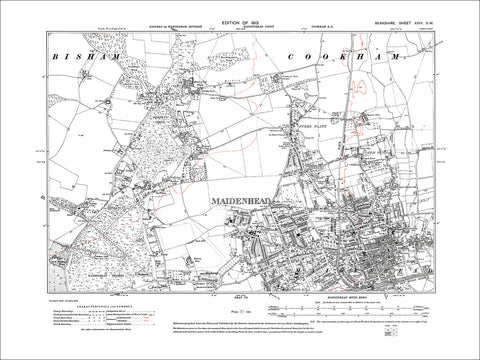 Maidenhead, old map Berkshire 1913: 24SW