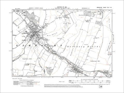 Lambourn, Eastbury, East Garston (NW), old map Berkshire 1913: 25NE