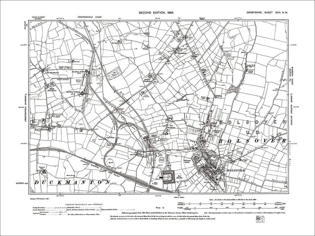 Bolsover, Old Map Derbyshire 1899: 26NW
