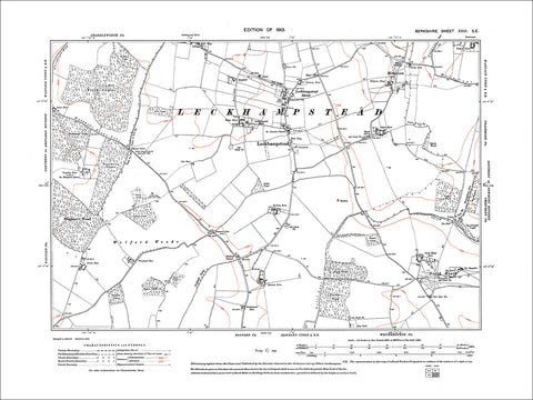 Leckhampstead, Hillgreen, old map Berkshire 1913: 26SE