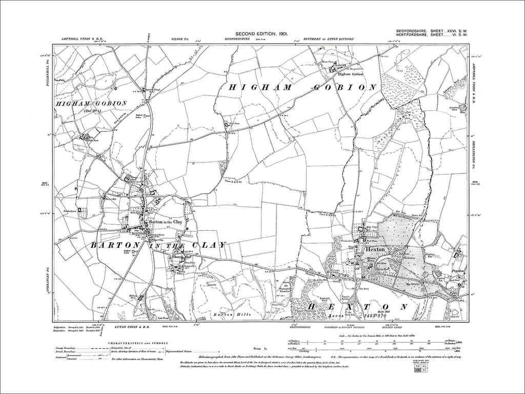 Barton in the Clay (+ Hexton, Herts), old map Bedfordshire 1901: 26SW