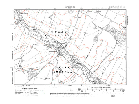 Great Shefford, East Shefford, E. Garston (SW), old map Berks 1913: 26SW