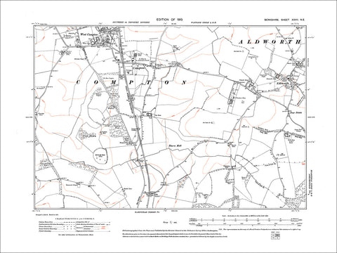 Compton, West Compton (S), Aldworth, old map Berkshire 1913: 27NE