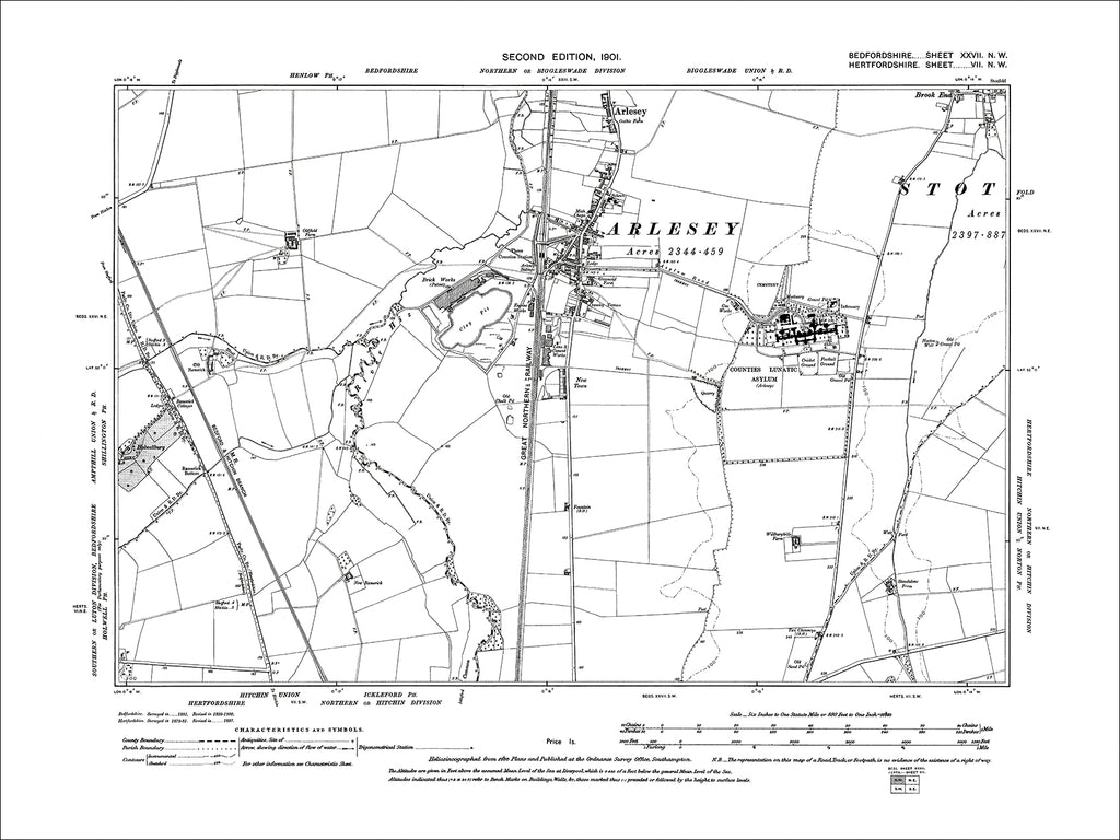 Arlesey, old map Bedfordshire 1901: 27NW