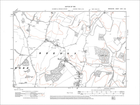 Beedon, Beedon Hill, old map Berkshire 1913: 27NW