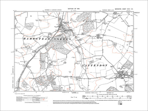 Hampstead Norris, Yattendon, old map Berkshire 1913: 27SE