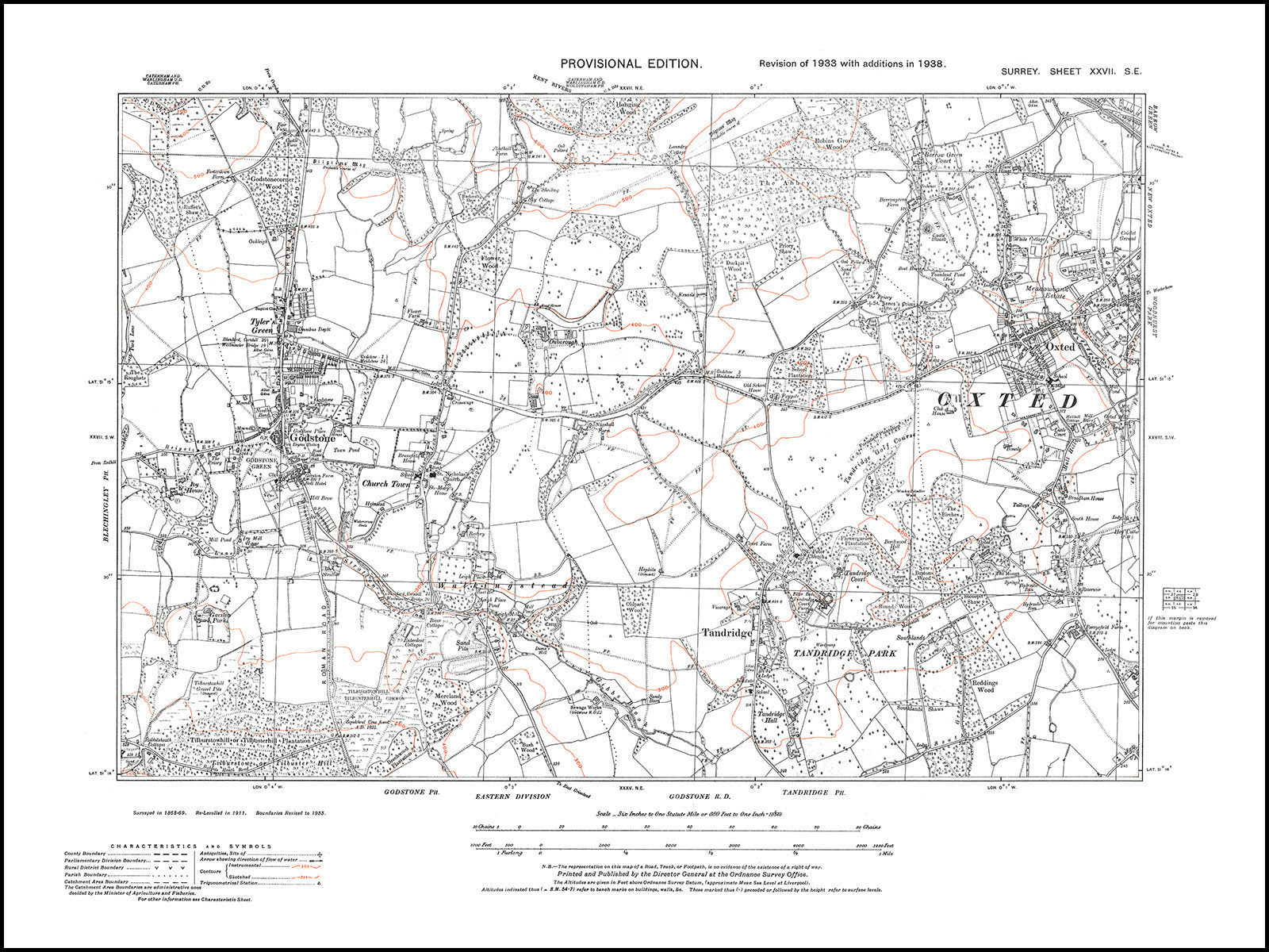 Se Colorado Map.Old Map Surrey 1938 Godstone Oxted Tandridge Old Towns Maps