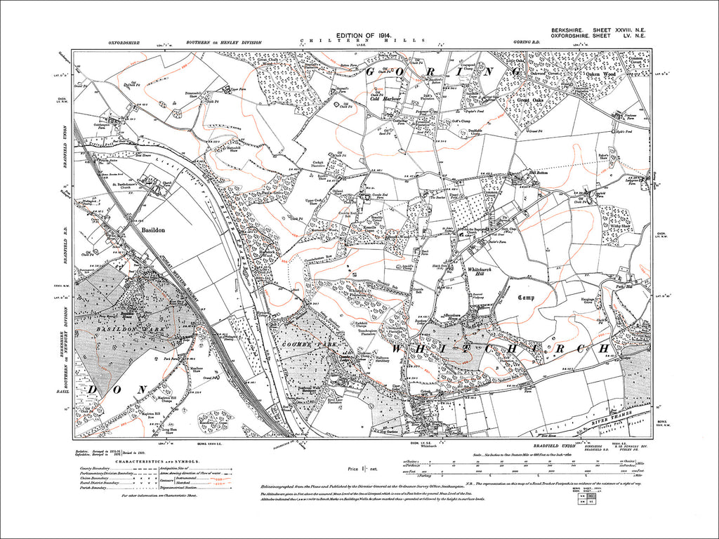 Basildon, old map Berkshire 1914: 28NE