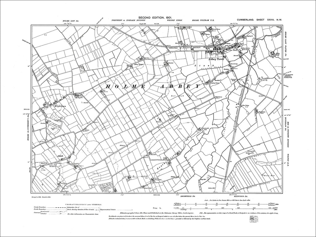 Abbey Town, Old Map Cumberland 1901: 28NW