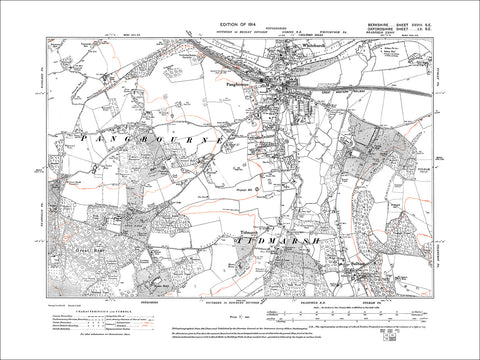 Pangbourne, Sulham, Tidmarsh, old map Berkshire 1914: 28SE