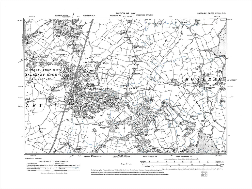 Alderley Edge, Wilmslow (S), Kirkleyditch Common, old map Cheshire 1910: 28SW