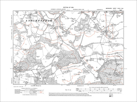 Ashampstead, Quick's Green, Upper Basildon, old map Berkshire 1913: 28SW