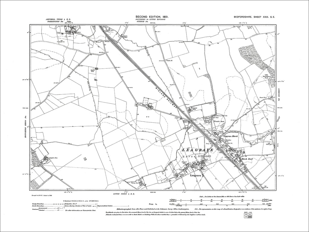 Leagrave, old map Bedfordshire 1901: 29SE