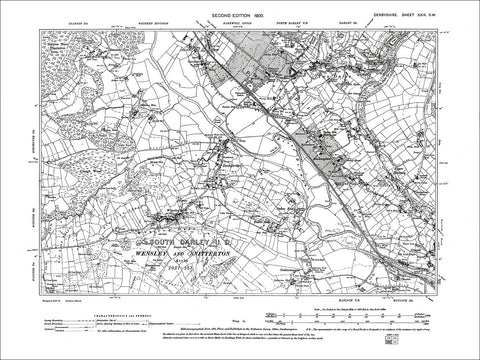 SW Clay Cross S Old Map Derbyshire 1900: 30-SW Ashover