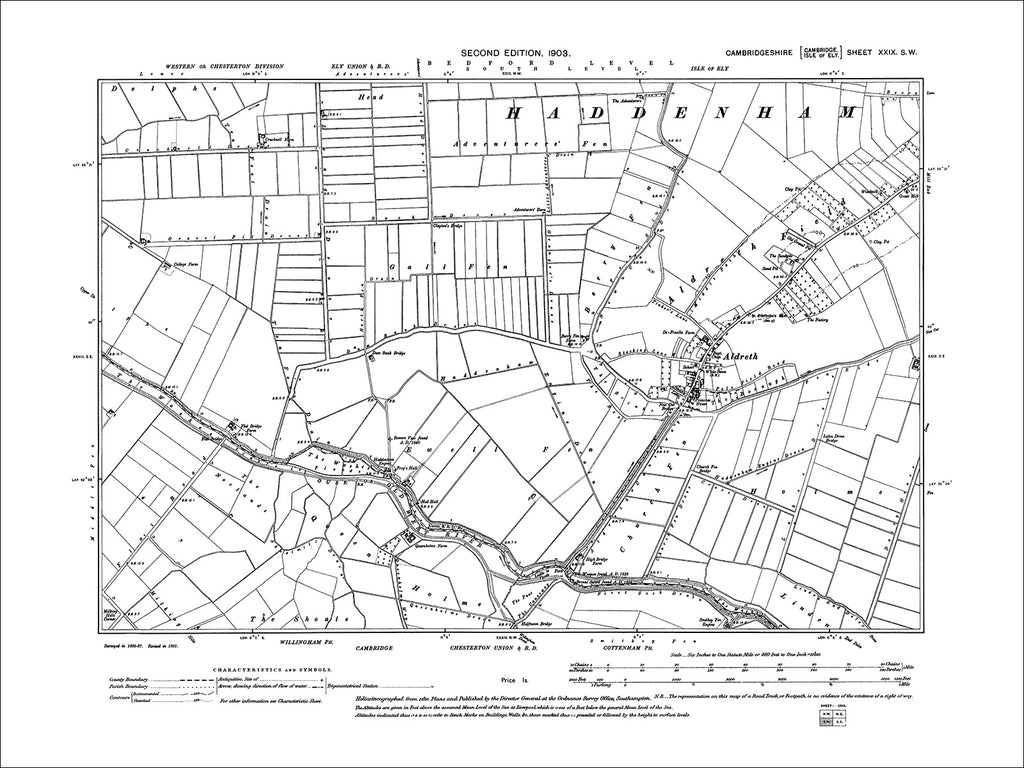Aldreth, old map Cambs 1903: 29SW